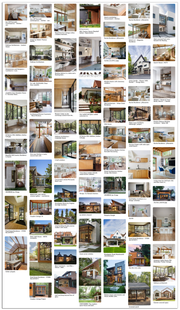 Project pinterest board example that could be used for a visual case study