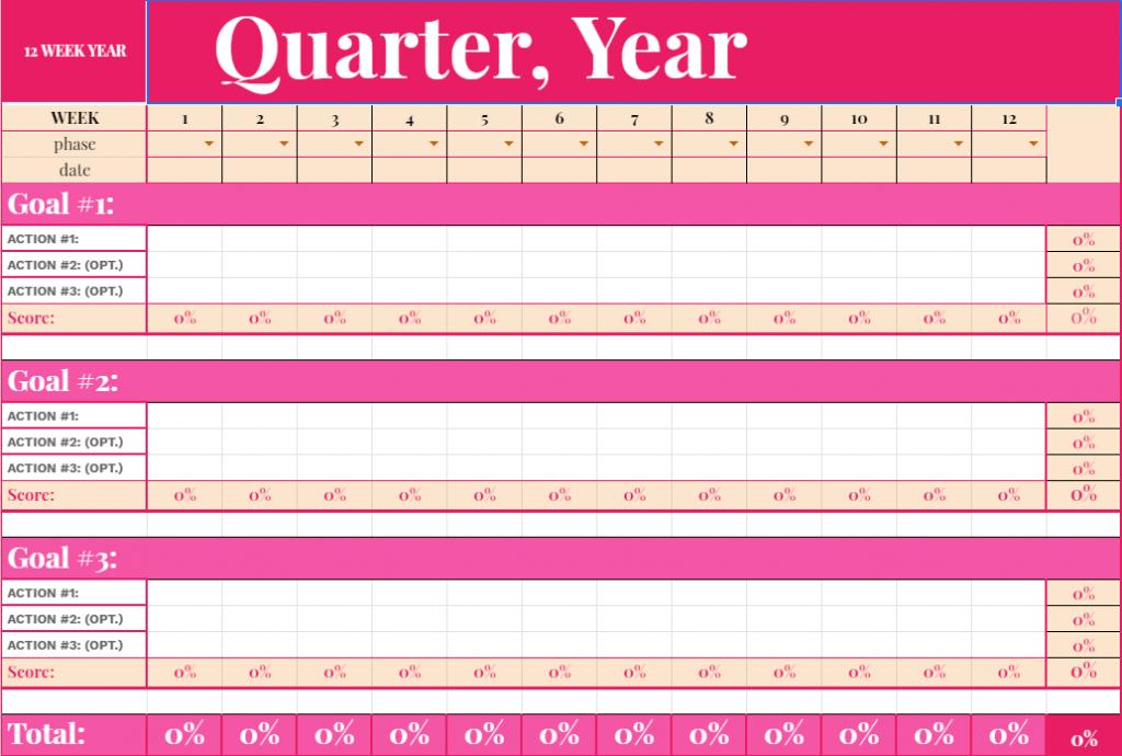 12-Week Year Goal Planning Sheet