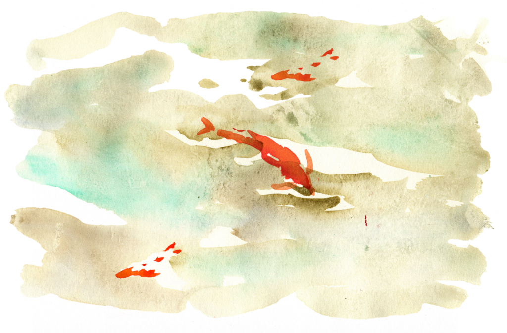 Illustration of Virginia Woolf's creative process _pulling fish out of water